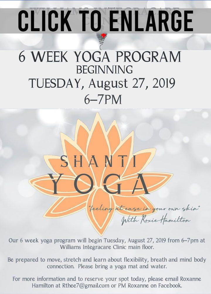 shanti yoga august class poster