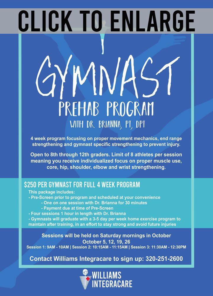 gymnast prehab program at williams integracare